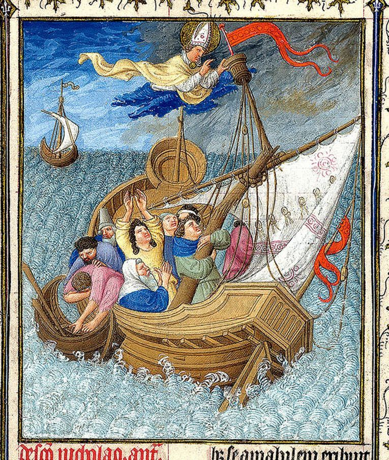 'Saint Nicholas Saves Travelers at Sea' from The Belles Heures of Jean de France illustrated by the Limbourg brothers, 1405–1409
