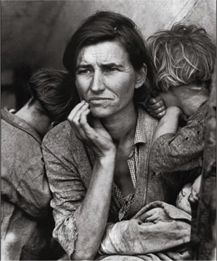 documentary photo Migrant Mother by Dorothea Lange, 1936