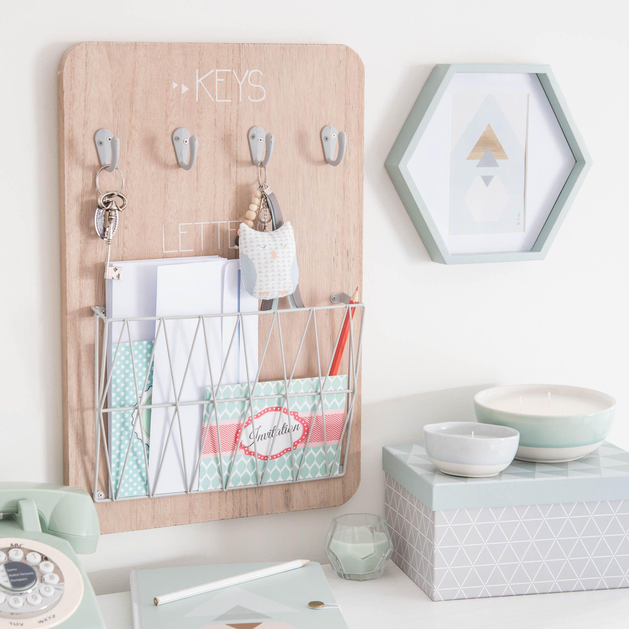 Tableau  clés courrier en bois 30 x 45 cm GRAPHIC