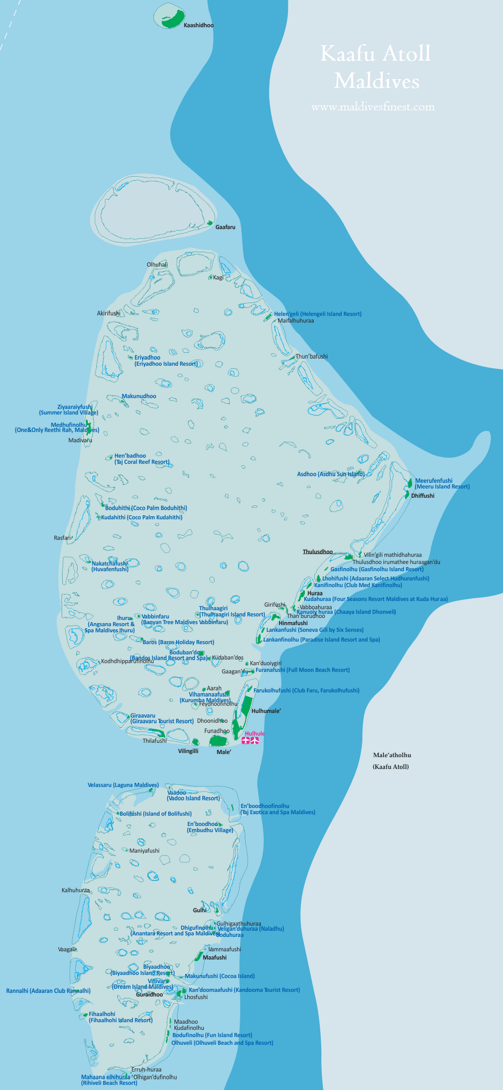 Maldives Map With Resorts Airports and Local Islands Maldives