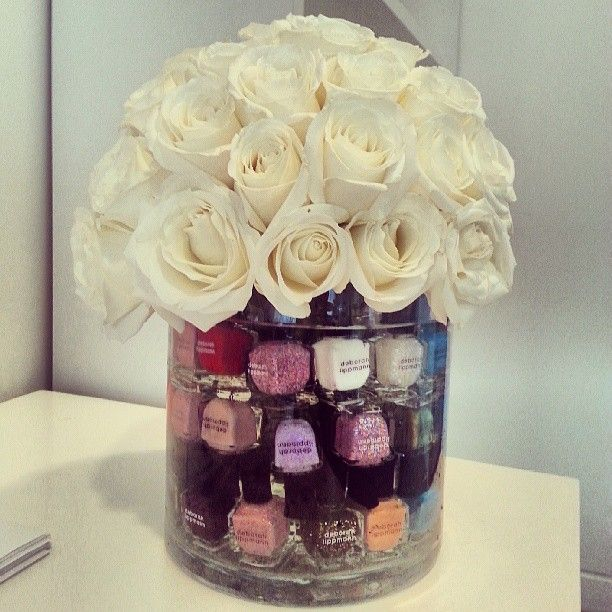 15 Pretty Ways To Decorate A Vase: Spa Party Centerpiece Idea (Flowers Topping Nail Polish In