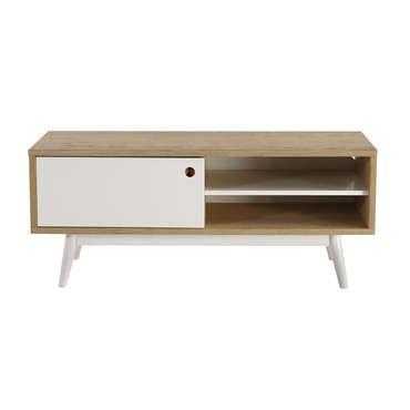 Meuble TV 1 porte + 1 niche ISLAND coloris chêne et blanc - pas cher