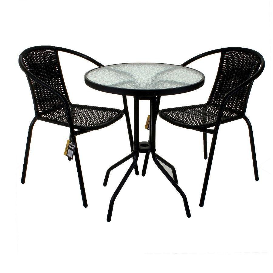 3 piece rattan bistro set black wicker woven 2 chairs 1