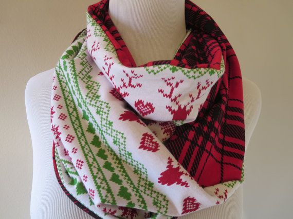 Fair Isle Reindeer Infinity Scarf - Red Plaid Fair Isle Scarf ...