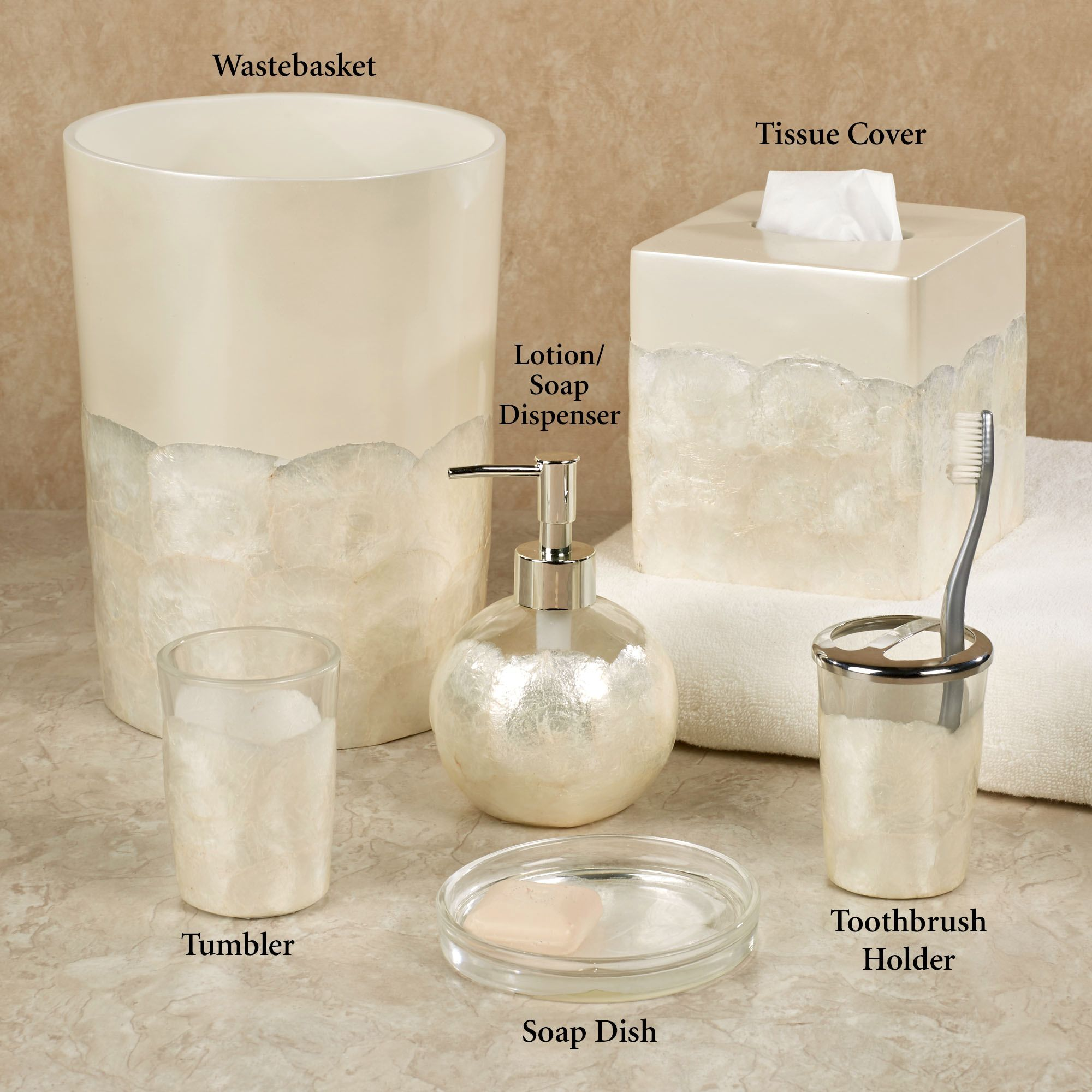 opal capiz shell bath accessories - Bathroom Accessories Distributors