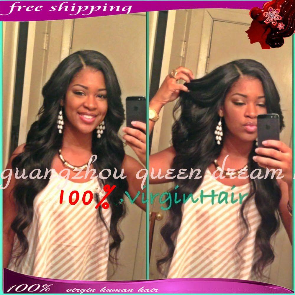 """fashion black women 24"""" #1b, free shipping human hair wig brazilian virgin human hair glueless full lace wig & front lace wig"""