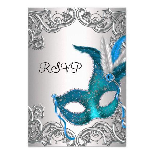 Teal Blue Silver Mask Masquerade Party RSVP Card Masquerade party