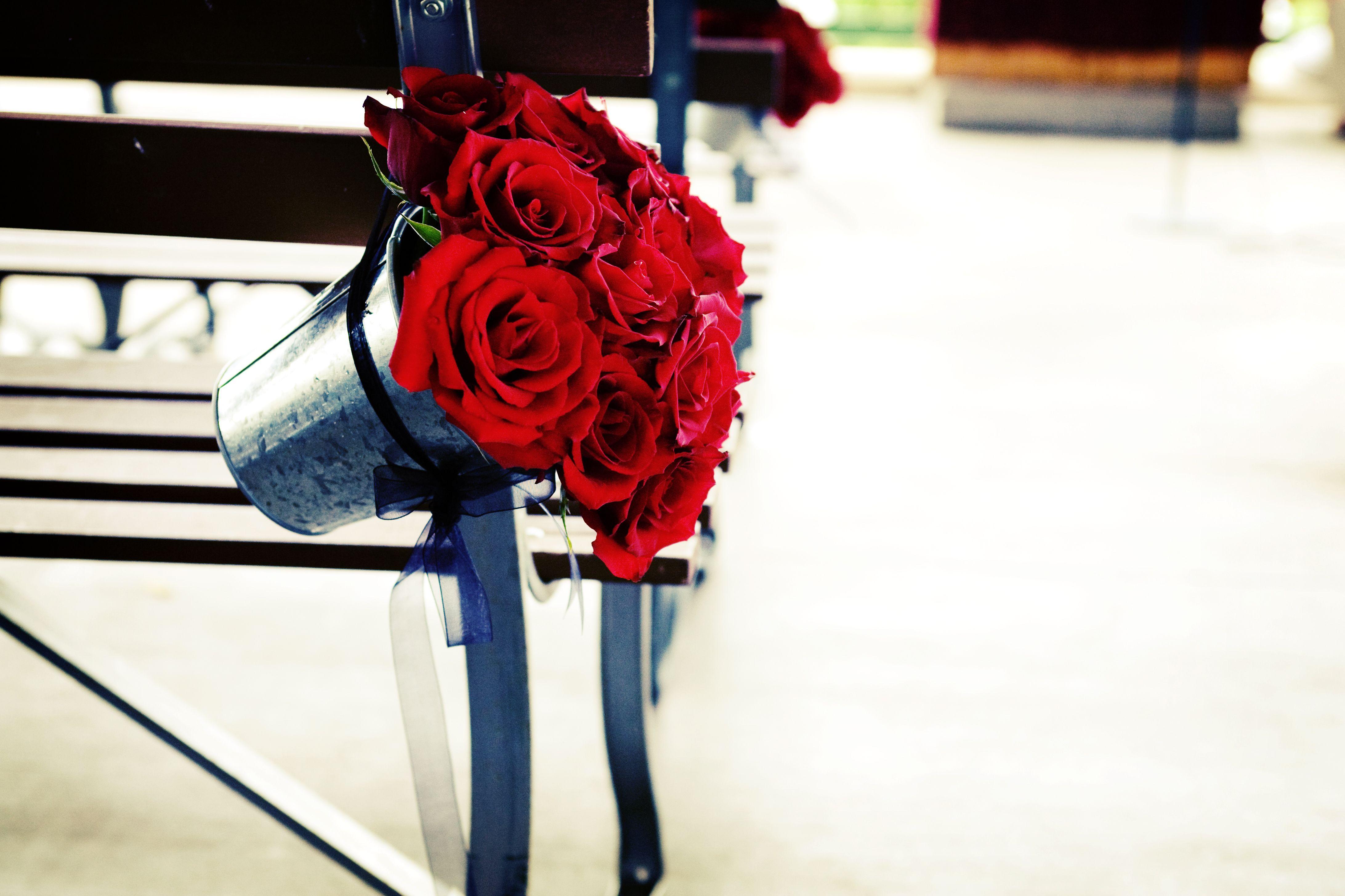 wedding aisle, wedding decor, pew decor, red roses, wedding roses ...