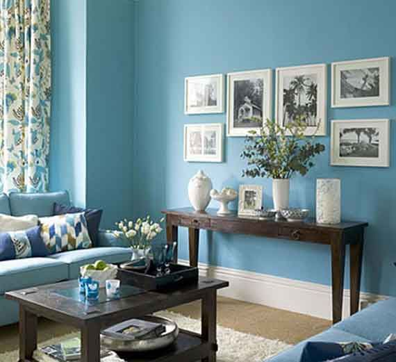 Casual Blue Living Room Design Ideas I Really Like This Color For The Living Room With A Faux Stone Wall For Accent