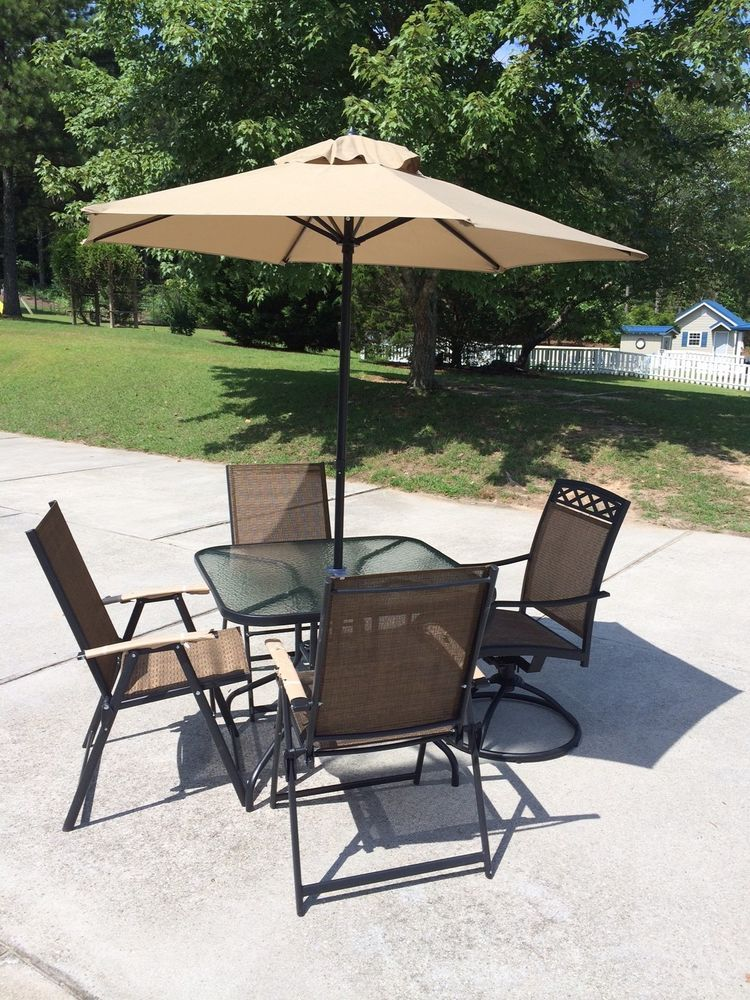 New Patio Set 6 Piece Outside With Umbrella Glass Top