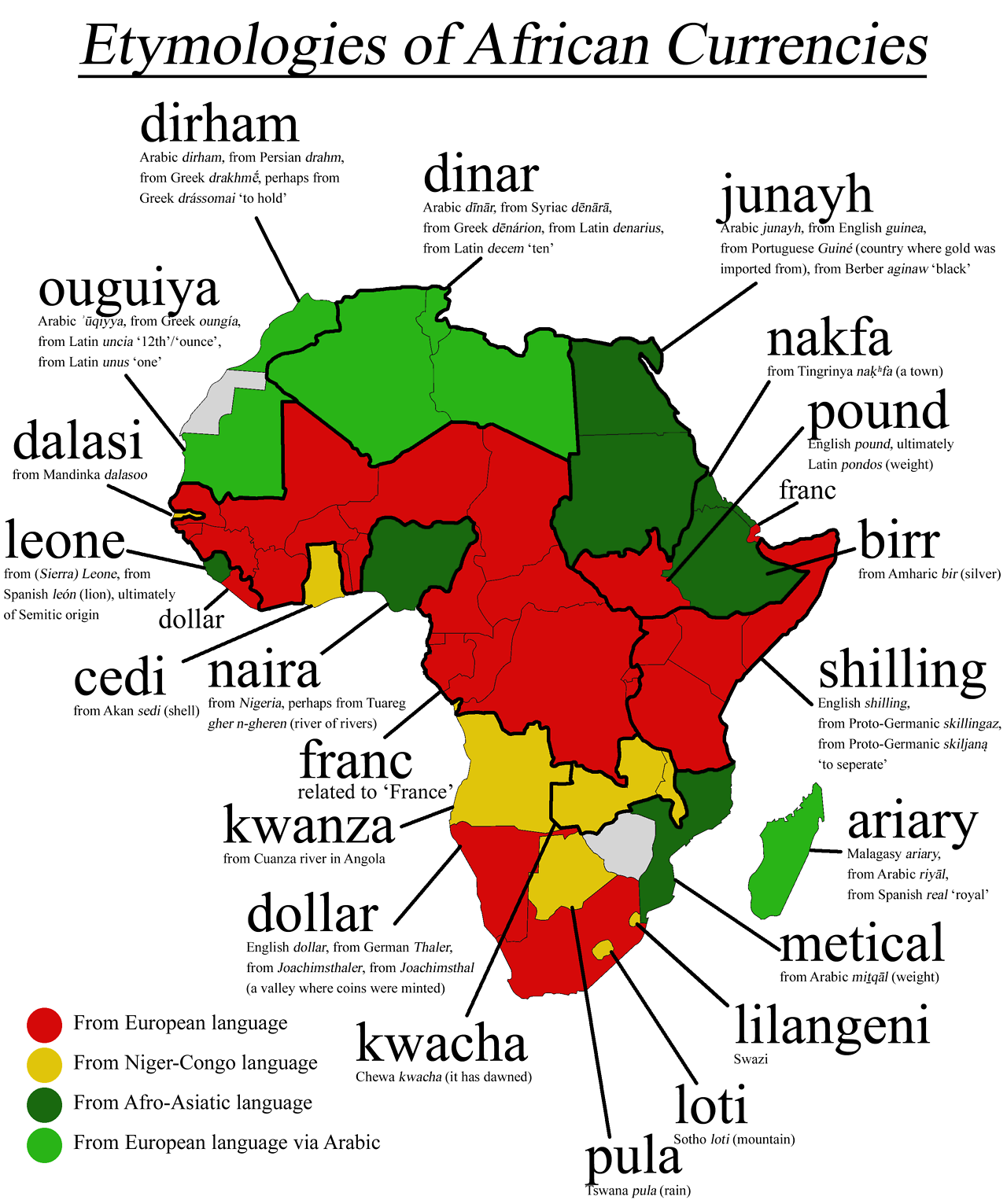 Etymologies Of African Currencies Carte Afrique Geographie Pays Africains