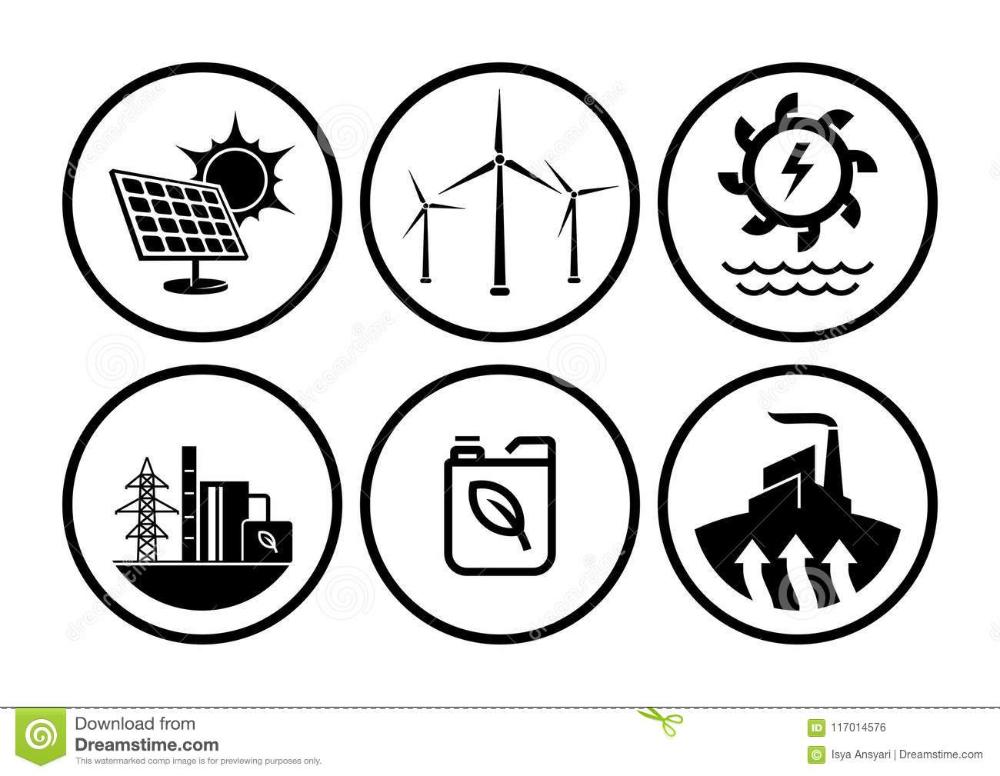 La Energia Renovable Mecanografia Sistema Del Vector De Los Iconos De La Central Electrica Ilustracion Del Vector Energia Renovable Energia Energia Eolica