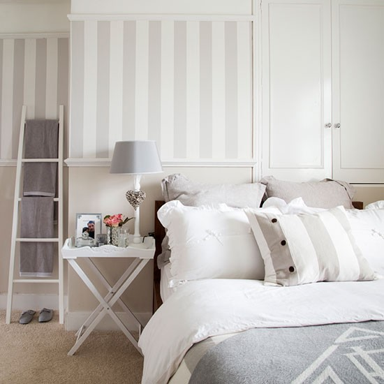 White And Grey Bedroom Crisp Bedlinen Striped Wallpaper