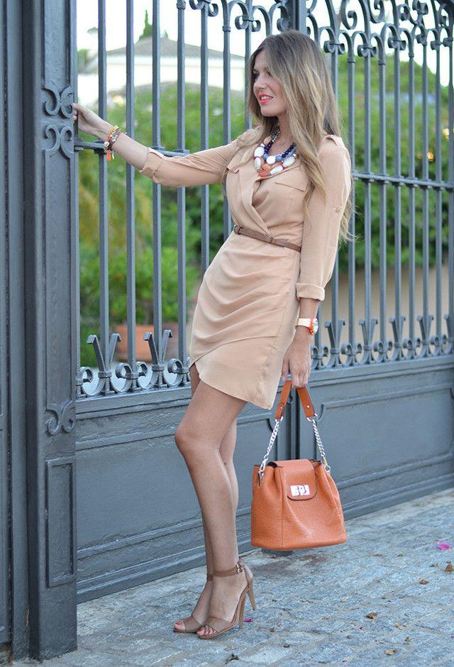 CLASSIC[summer]: wrap dress; sand tones