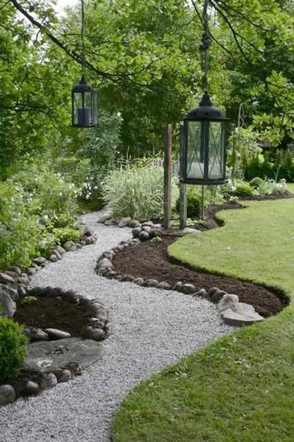 Garden With Lanterns And Gravel Walkway is part of Modern garden Walkway - Garden walkways are made of several different materials, including natural stone, brick, glass or gravel