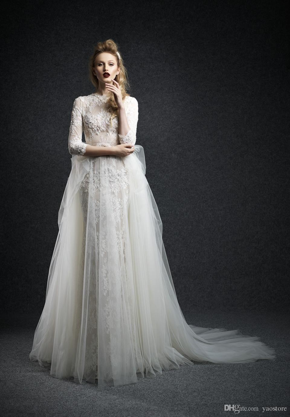 Vintage high neck sheer lace wedding dresses fall long