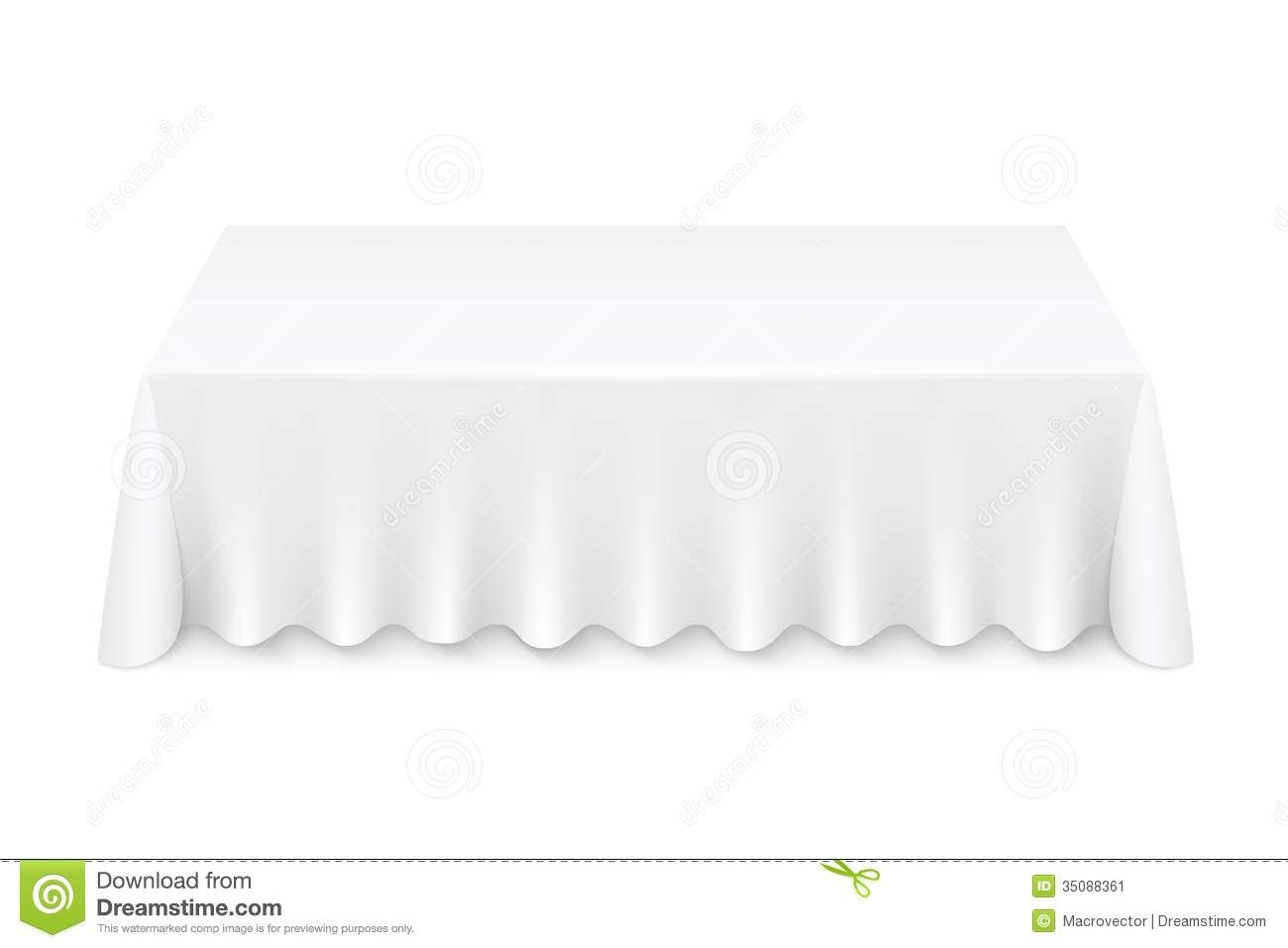 Tablecloth White Rectangular Table Vector Illustration Isolated 35088361.