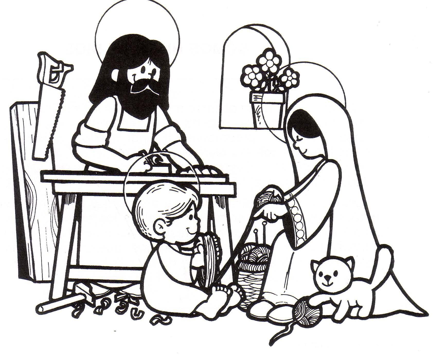 Coloring Pages Of Jesus In Nazareth. Holy Family at Nazareth Catholic Coloring Page for Children  I love how Jesus is helping Mary with the wool Imagen de http www gecoas com religion PRIMBN Sgda Familia