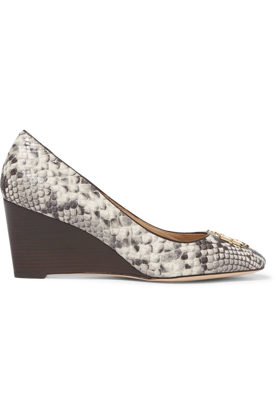 fd6a123ee03ec TORY BURCH Raleigh snake-effect leather wedge pumps.  toryburch  shoes   pumps
