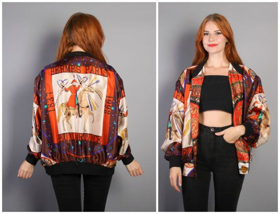 856a8824f 90s HERMES SILK Bomber JACKET / Reversible Feux D'Artifice Baroque ...