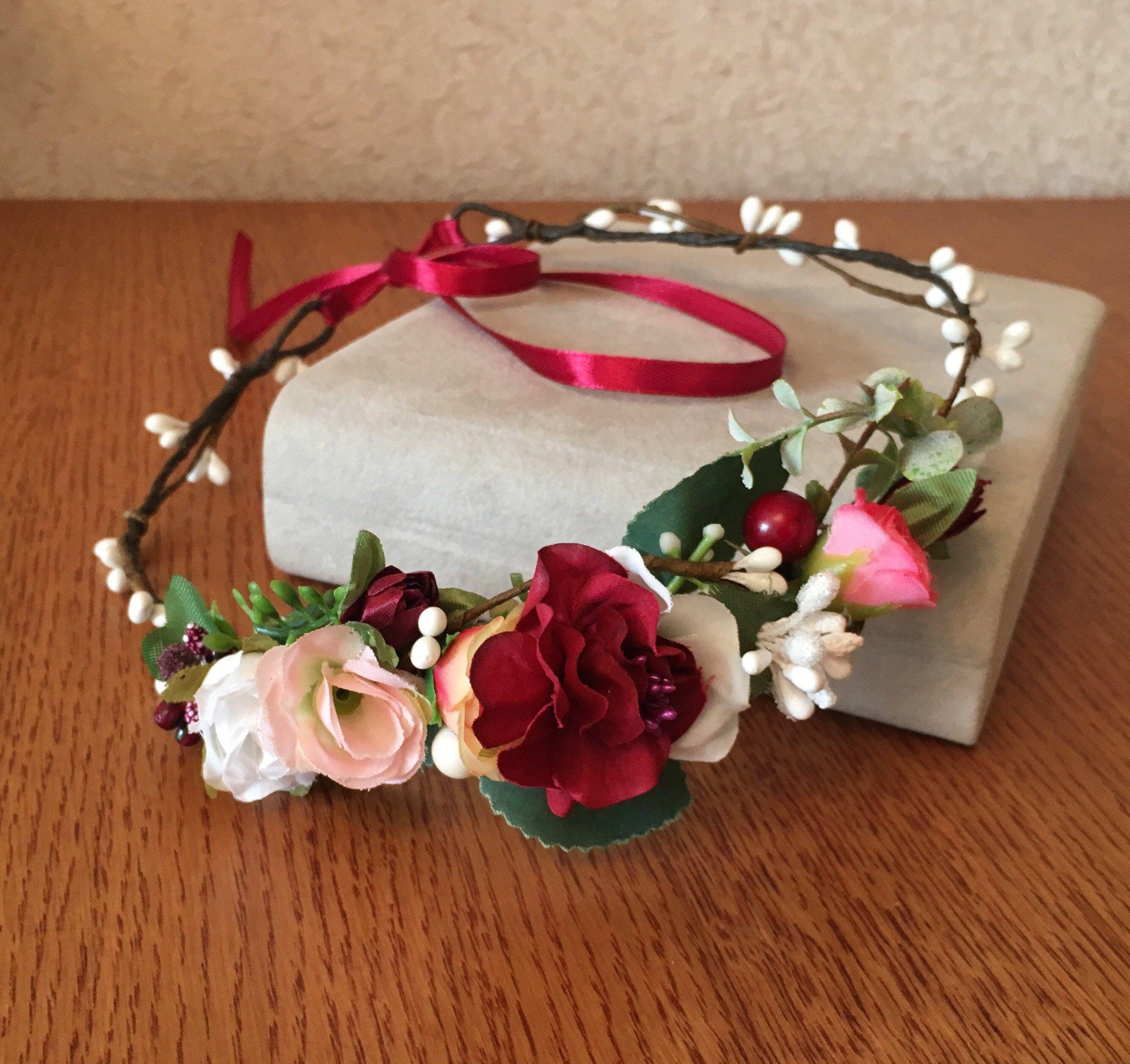 Burgundy blush white floral crown wedding headband adult
