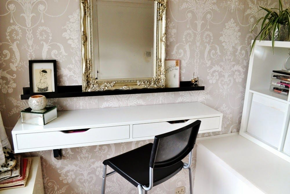 Vanity Ideas For Your Apartment Or Small Space Domino Ikea Ekby Ikea Floating Shelves Floating Shelf With Drawer