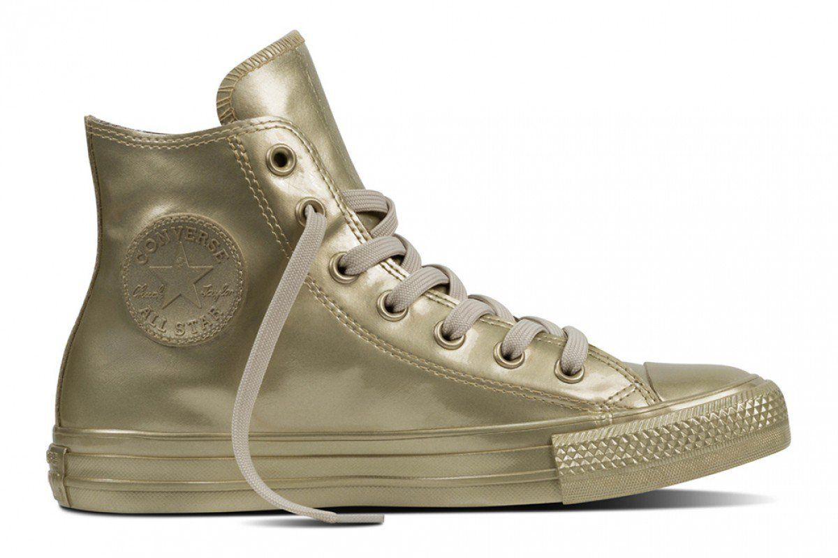 54a57a2b41fe03 Converse Women s Chuck Taylor All Star Metallic Rubber Hi Top Light Gold