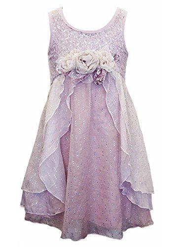 Big Girls Tween Sequin Open Cascade Empire Waist Dress d07feaf3e