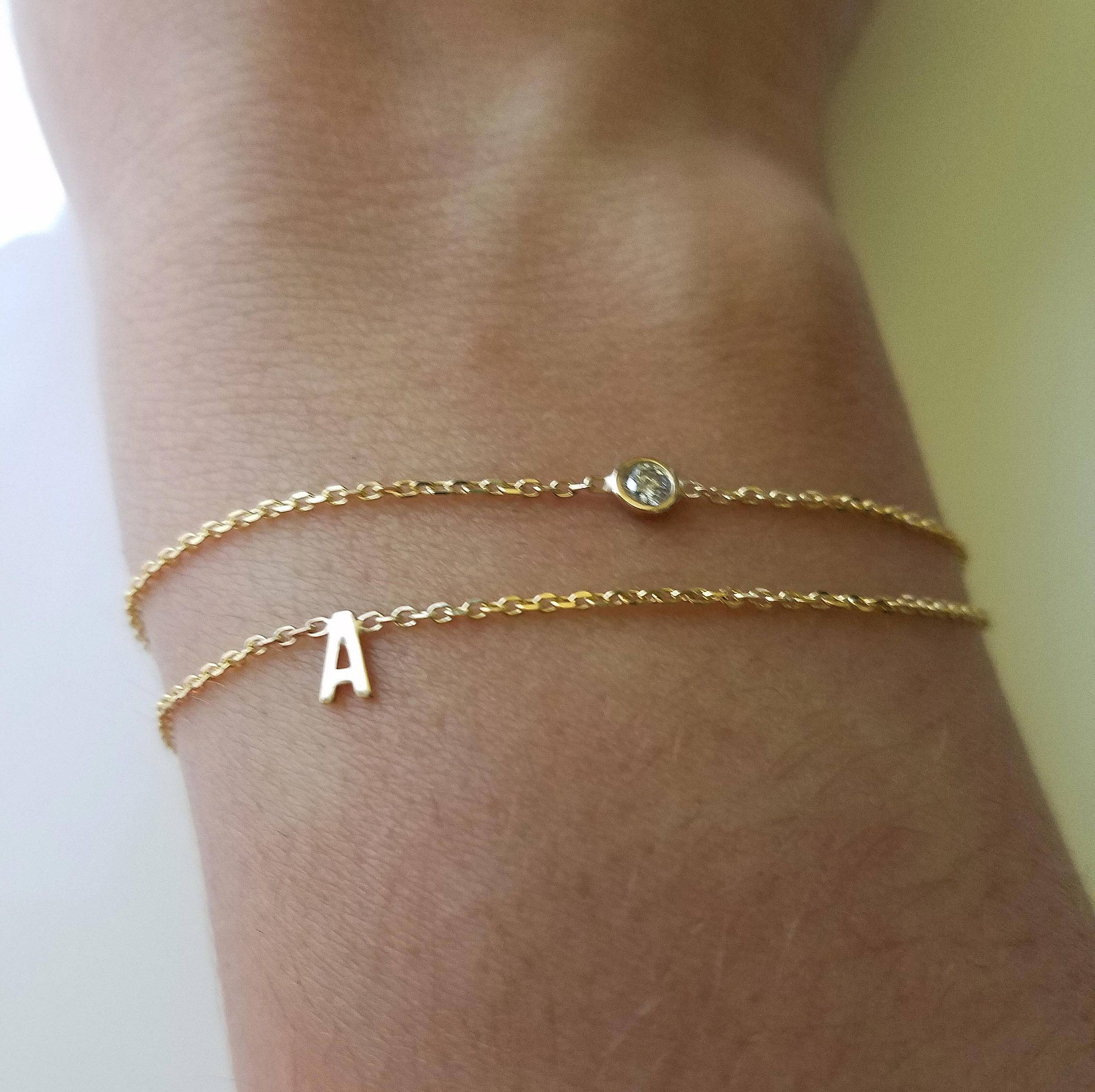 Diamond Bracelet With Initial Gemstone Bracelets Solid Gold Letter Bracelets Women Diamond Bracelets By Gvantsa Fine Jewelry Bracelets Ankle Bracelets Jewelry