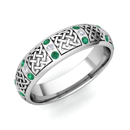 Men S Wedding Ring Emerald In Platinum Set With Celtic Design