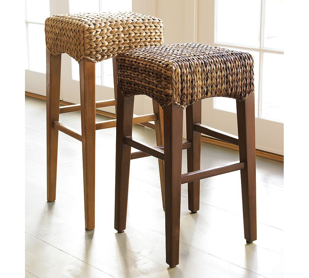 Pottery Barn Seagrass Backless Barstool Wicker Bar Stools Backless Bar Stools Rattan Bar Stools