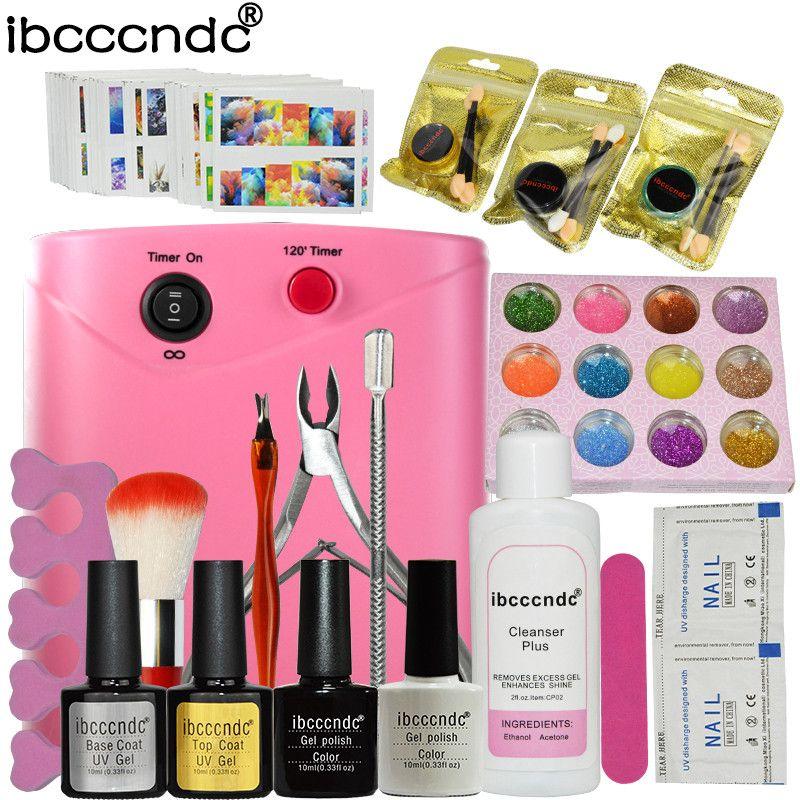 Nail Art Set Manicure Tools 36W UV Lamp 2 Colors Gel Nail Polish ...