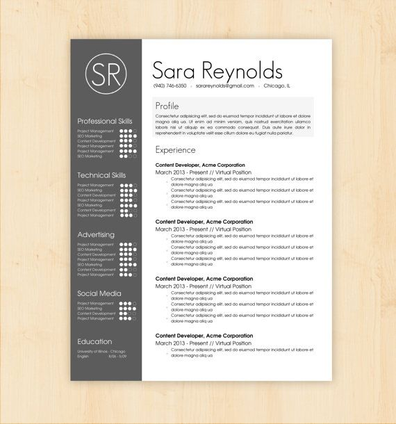 Resume Template   CV Template - The Sara Reynolds Resume Design - Modern Resume Styles