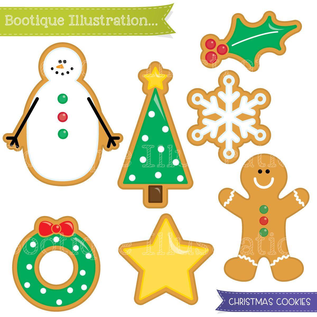 Christmas Cookies Clipart Set Xmas Cookies Digital Clipart Dibujos