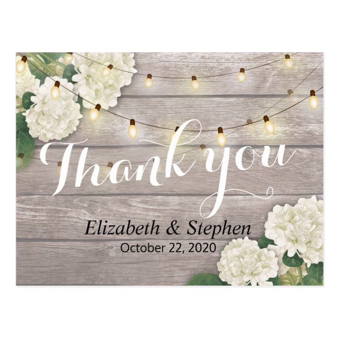 Wedding Thank You Rustic Wood Floral String Lights Postcard