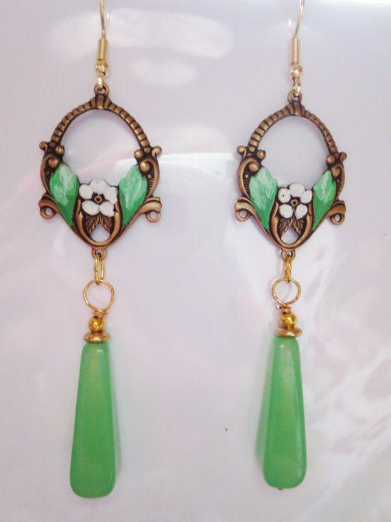 Vintage Style Jewellery Green Opal Enamel Earrings Silver Plated