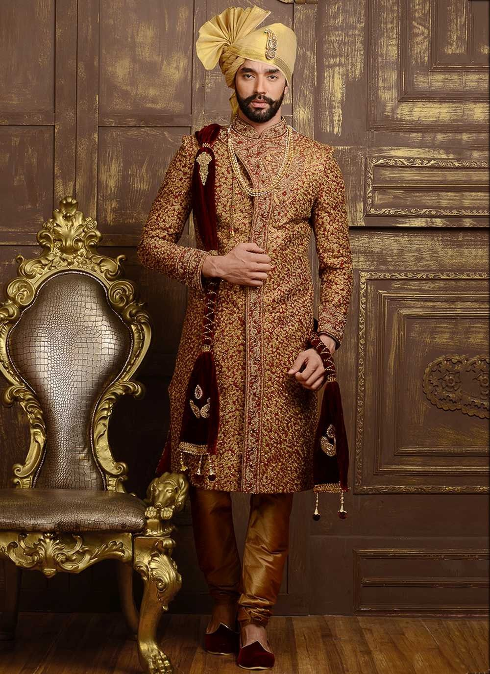 3038ef586d Maroon embroidered jacquard silk latest shervani for groom | Men's ...
