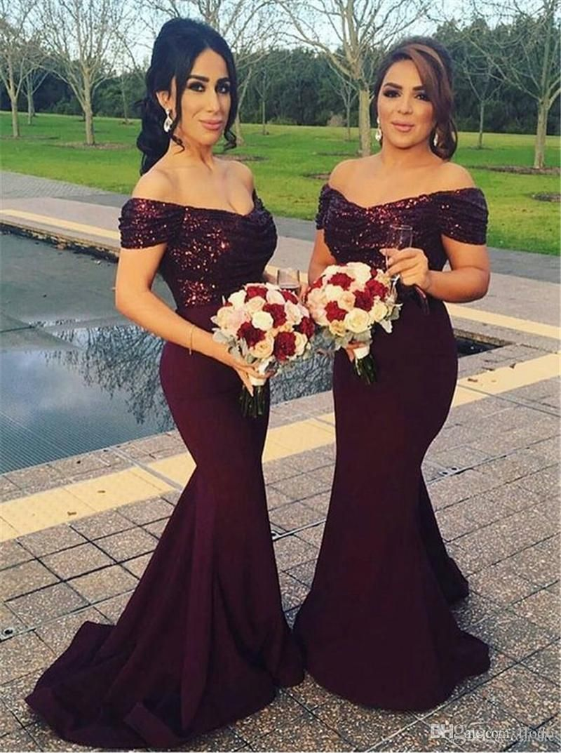 Cheap off shoulder mermaid bridesmaids dresses burgundy sequin