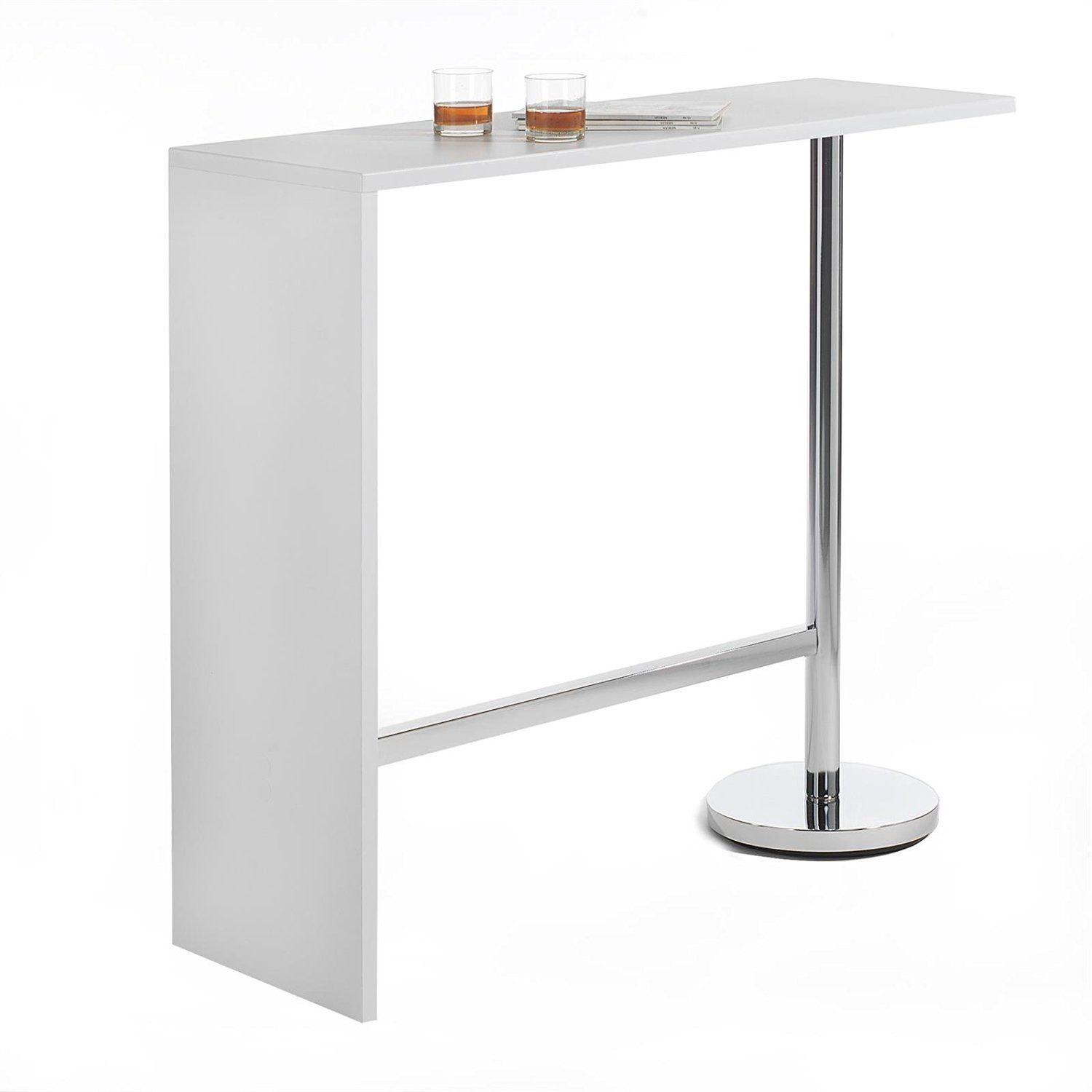 Table haute de bar mange debout ricardo mdf d cor blanc for Table haute cuisine mange debout
