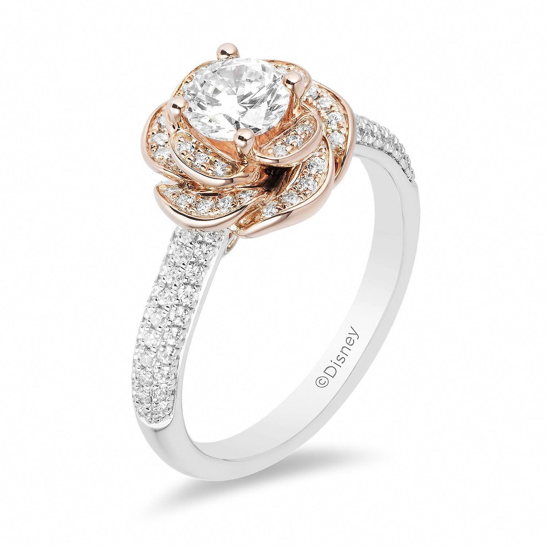 Diamond wedding band milgrain bridal promise ring 14k rose