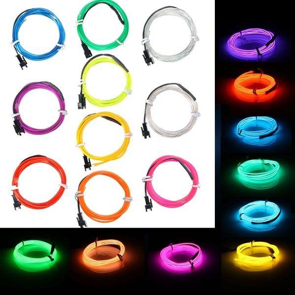 1M EL Led Flexible Soft Tube Wire Neon Glow Car Rope Strip Light ...