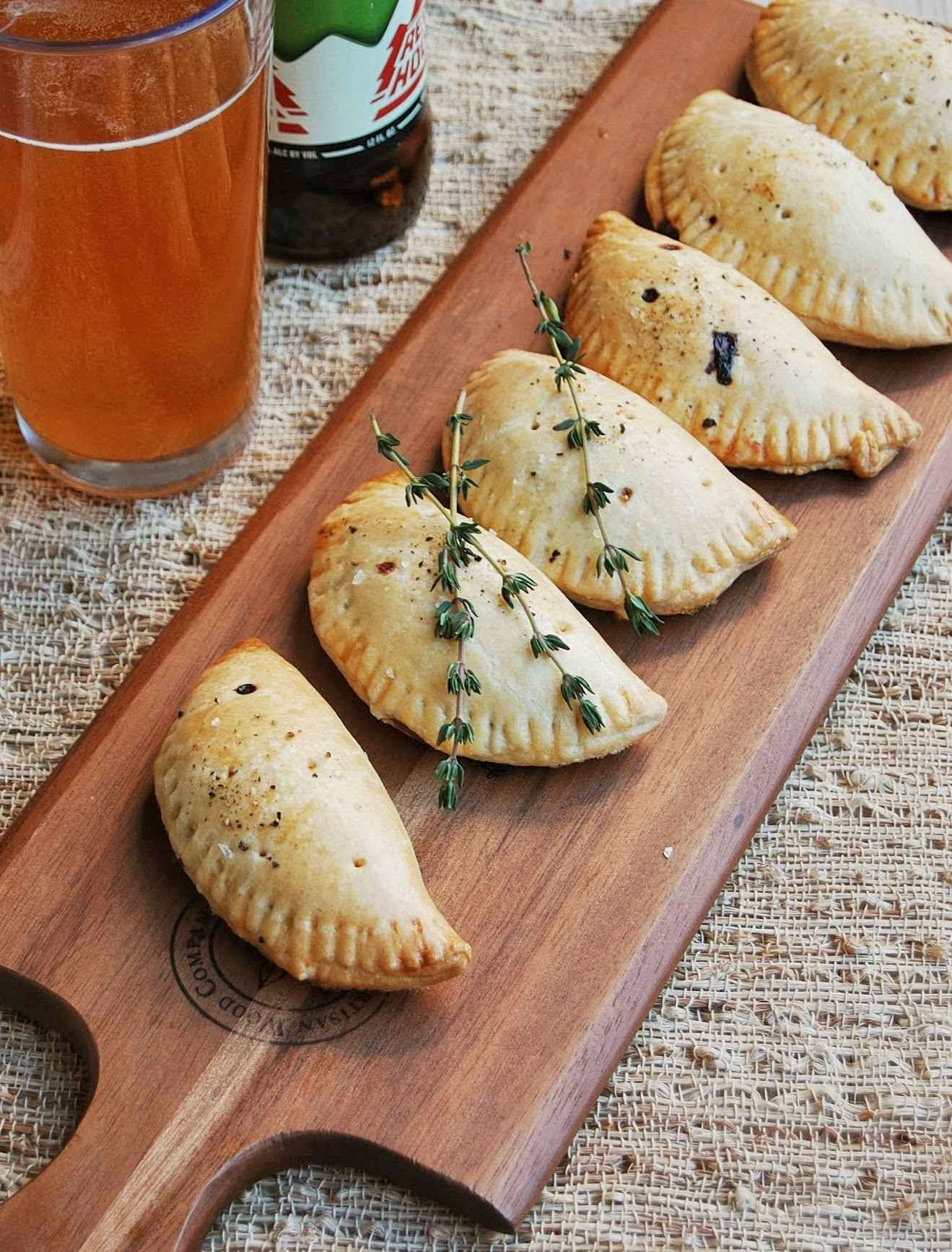 Mushroom, gorgonzola, and caramelized onion hand pies - nice as mini appetizers!