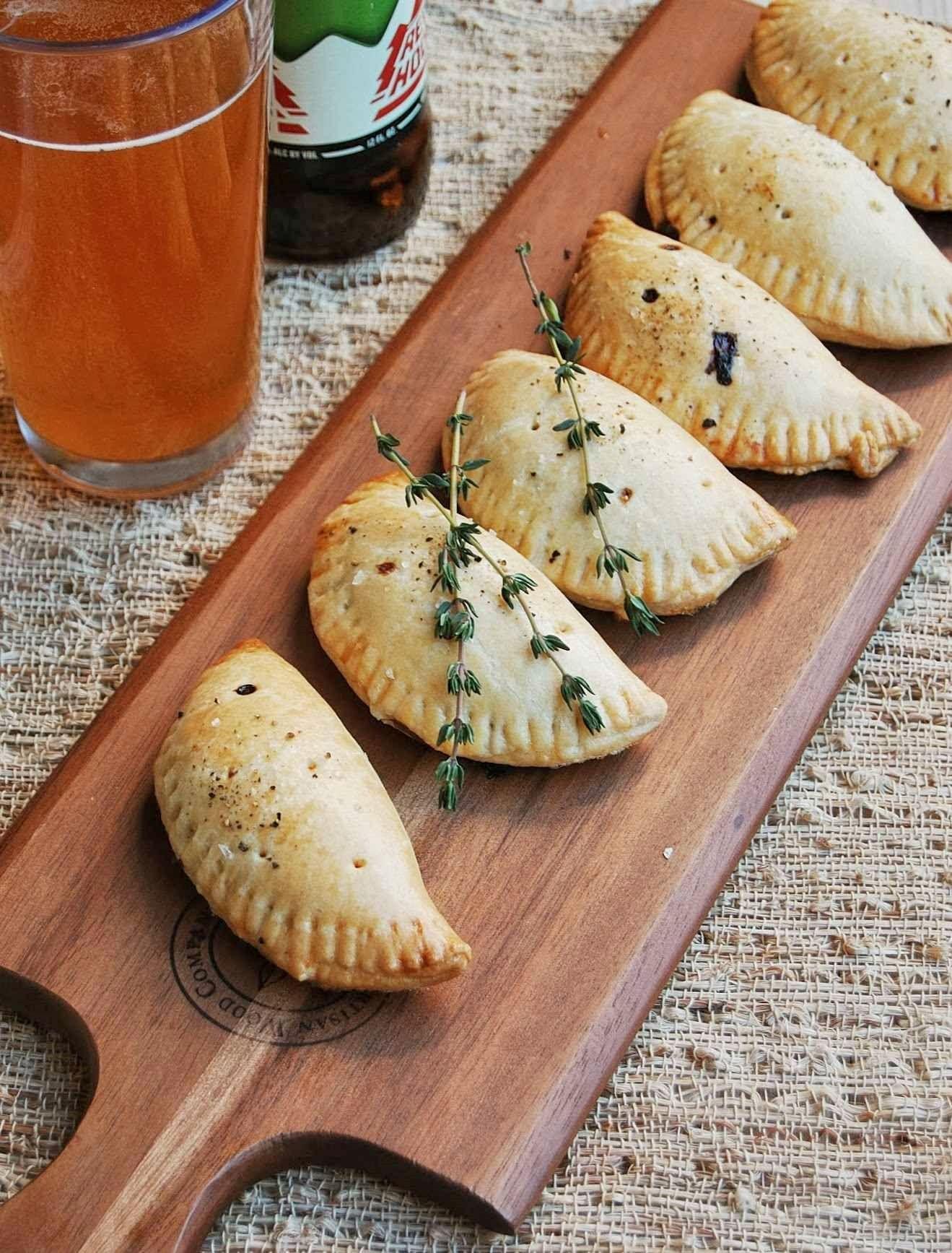 Mushroom, gorgonzola, and caramelized onion hand pies - nice as mini appetizers!