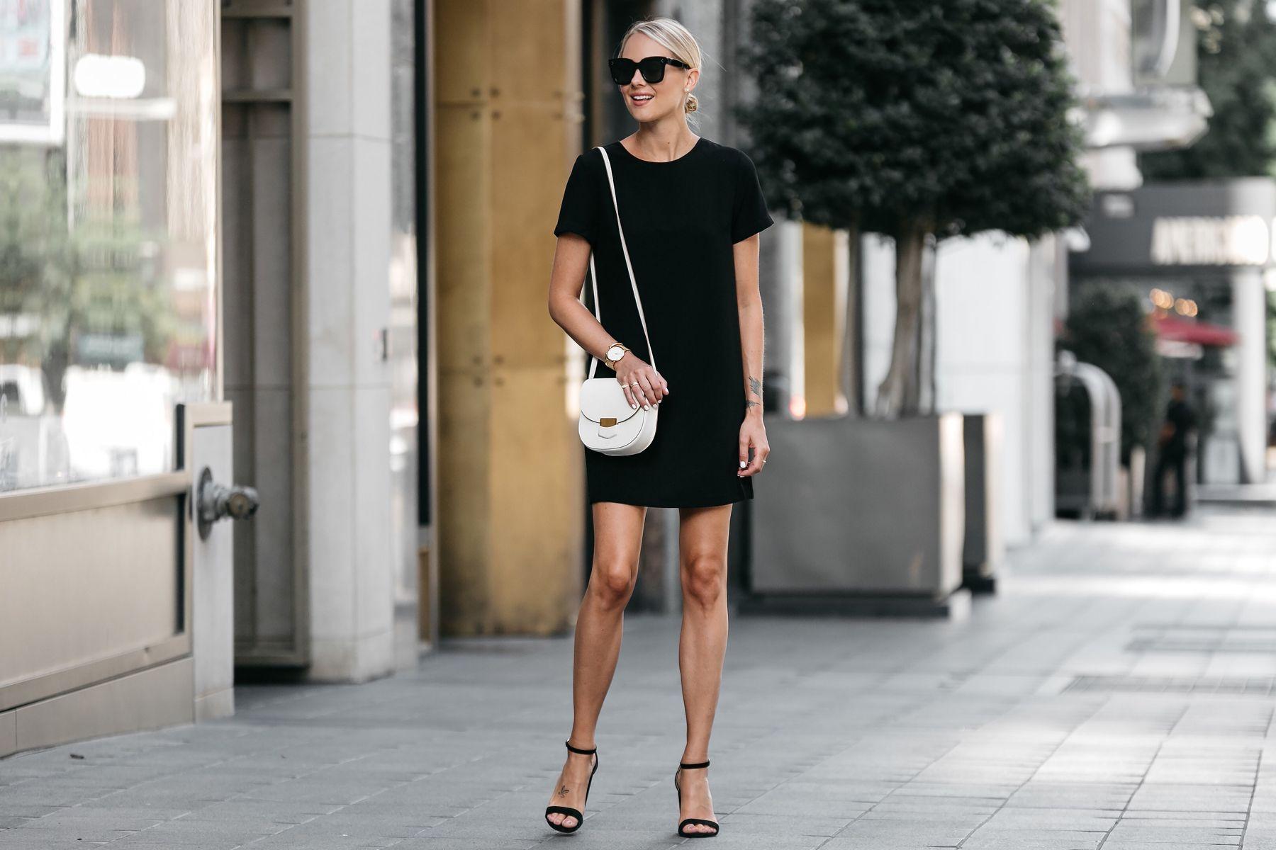 Blonde Wearing Nordstrom Black Shift Dress Outfit Black Ankle Strap Heeled Sandals Celine White Trotteur Ha Simple Casual Outfits Shift Dress Shift Dress Black [ 1200 x 1800 Pixel ]