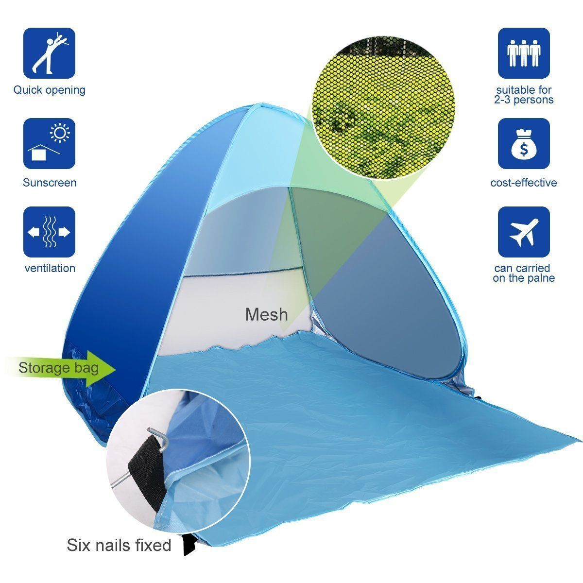 eJoy Outdoor Automatic Pop up Instant Portable Cabana