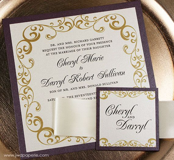 Wedding Invitation Eggplant Gold Wedding Invitation