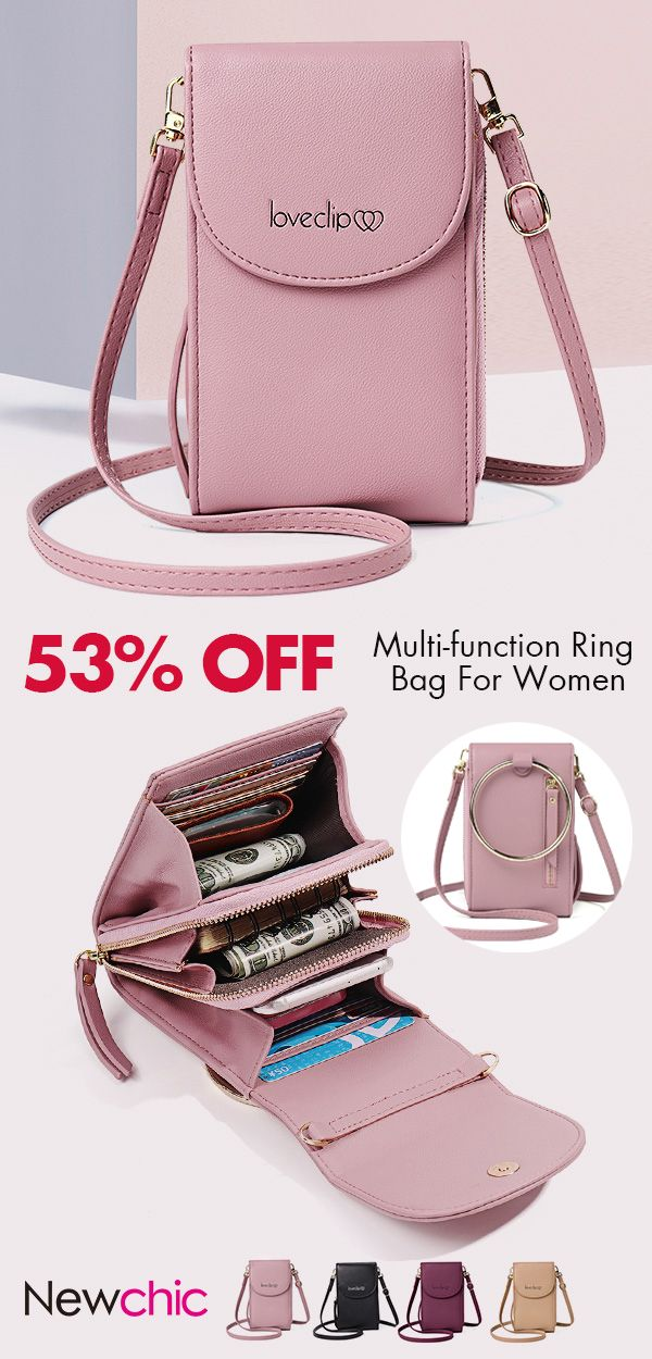Photo of 【US$ 19.92】Women Multi-function Solid Ring Phone Bag Shoulde…