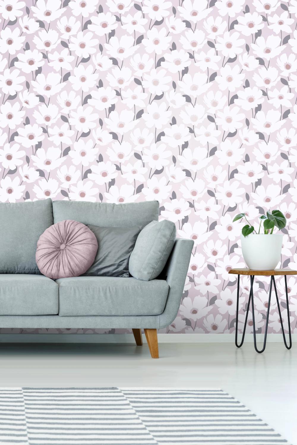 Mia Floral Blush Grey metallic wallpaper, Metallic