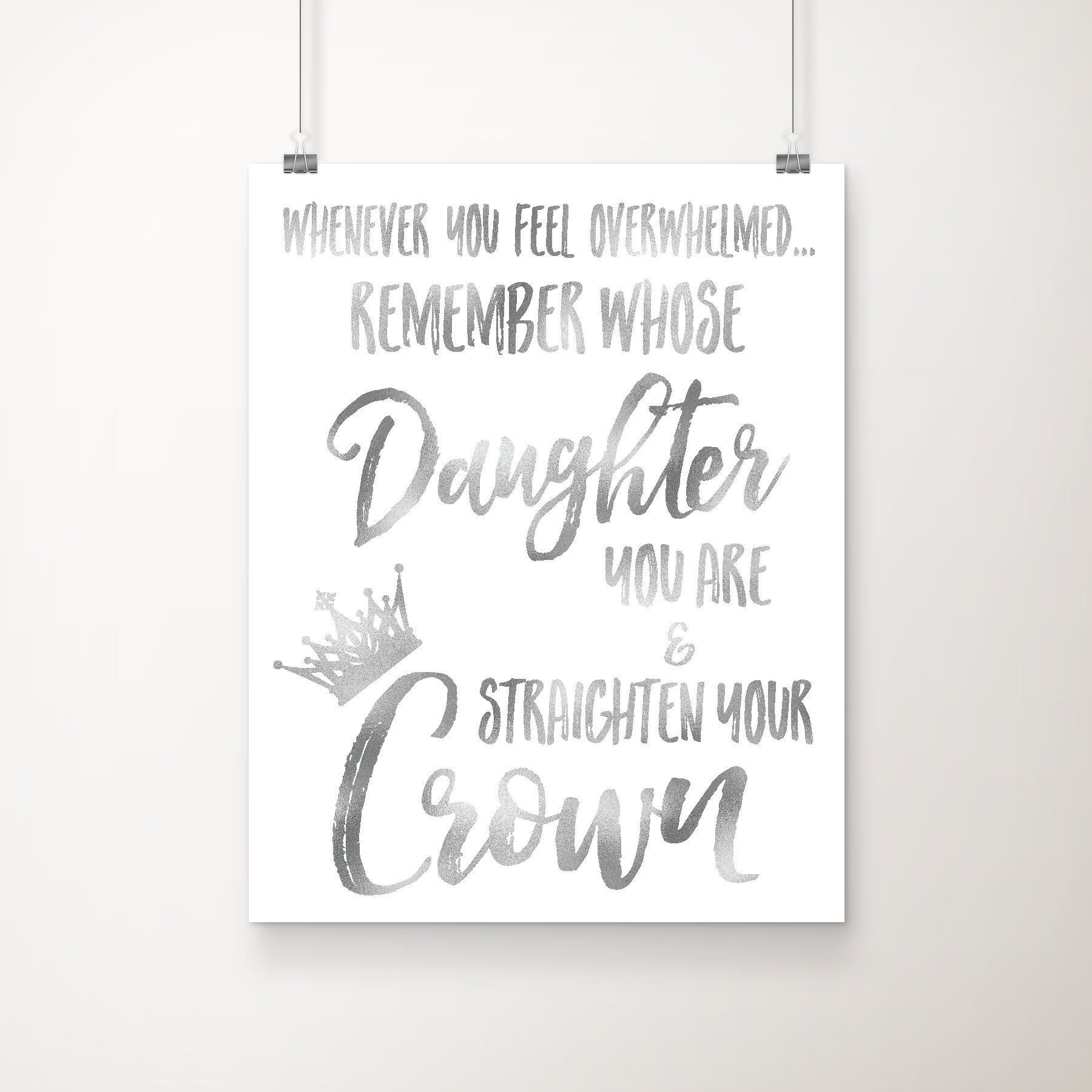 Remember Whose Daughter You Are And Straighten Your Crown 8x10 Inch
