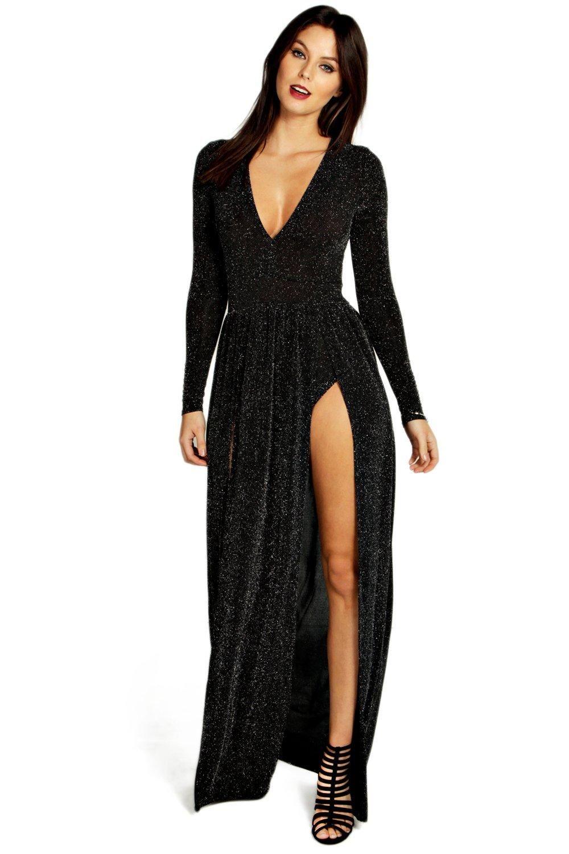 9e30353ec529a Kiera Metallic Thigh Split Plunge Maxi Dress | Clothes | Dresses ...